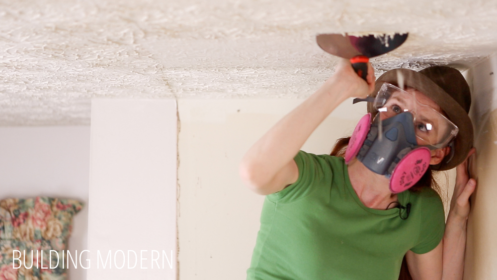 Scraping a stippled ceiling diy