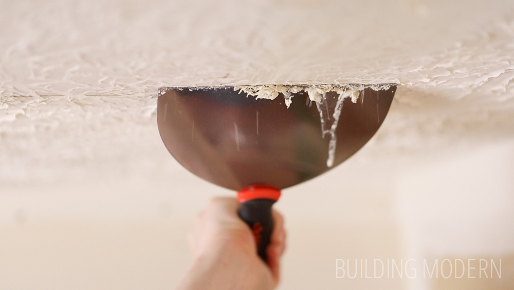 Scraping a stomped ceiling texture