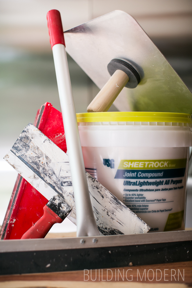 supplies for skim coating a textured ceiling