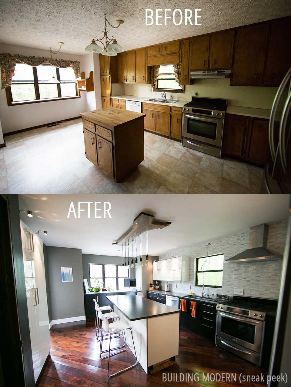 Modern DIY Kitchen Before and After Sneak Peak for Building Modern