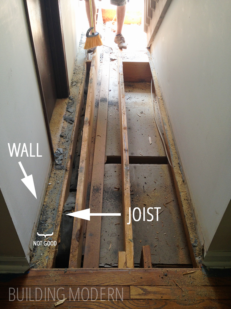 Exposed joists in the foyer joists not supproting wall