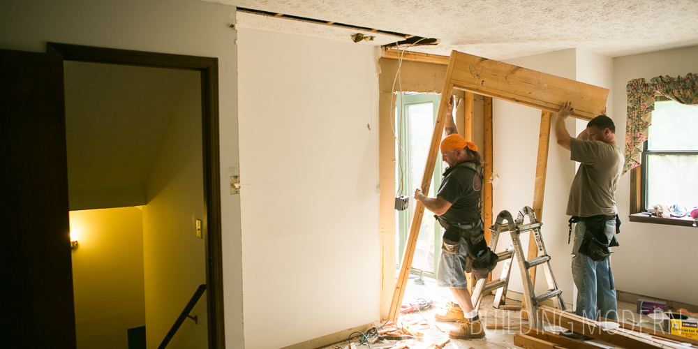 Kitchen pantry demo, foyer door expansion, & raising a few joists