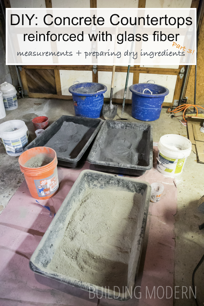 Concrete countertops DIY prepareing dry ingredients