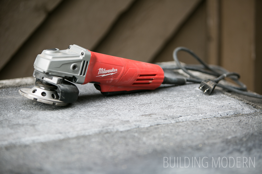 Milwaukee angle grinder with cement wheel