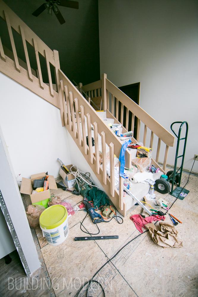 DIY house construction tool mess