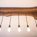 Modern Live Edge Walnut Industrial Light Fixture