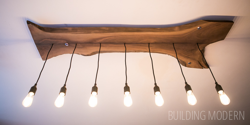 Live edge walnut light fixture