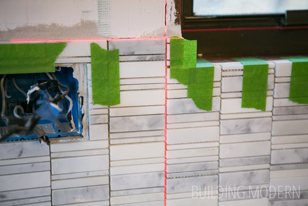 how to marble mosaic tile installation with laser level