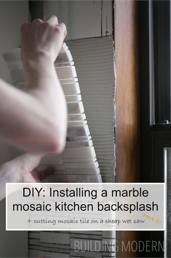 How to use a wet saw and install a marble mosaic tile backsplash