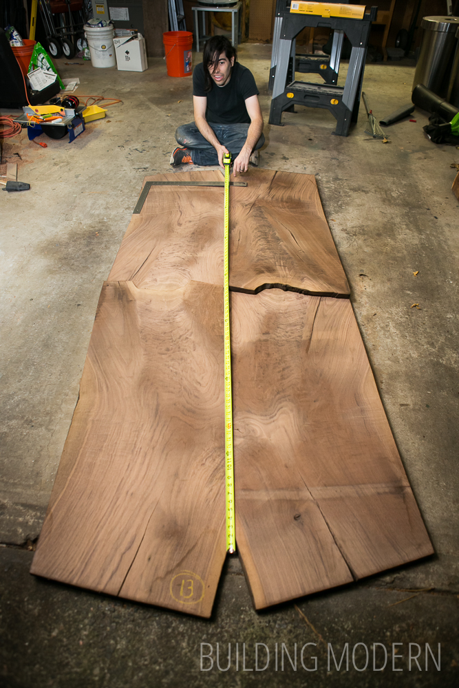 bookmatched walnut slabs for a dining table