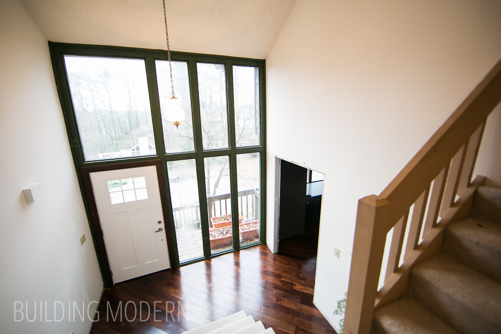 modern foyer mid renovation