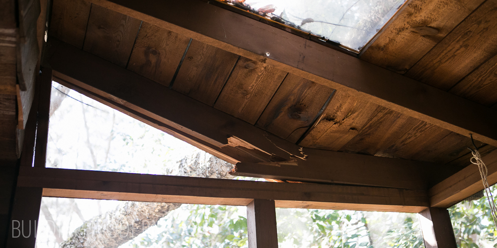 Repairing a broken porch roof joist