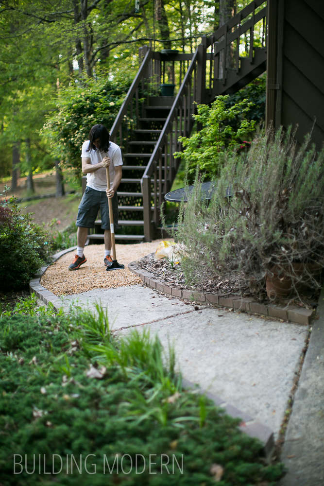 diy updating a sidewalk with pea stone