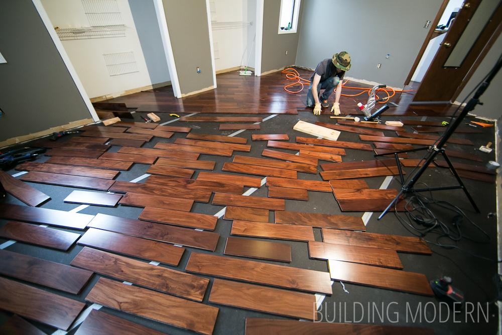 hardwood floor installation in progress