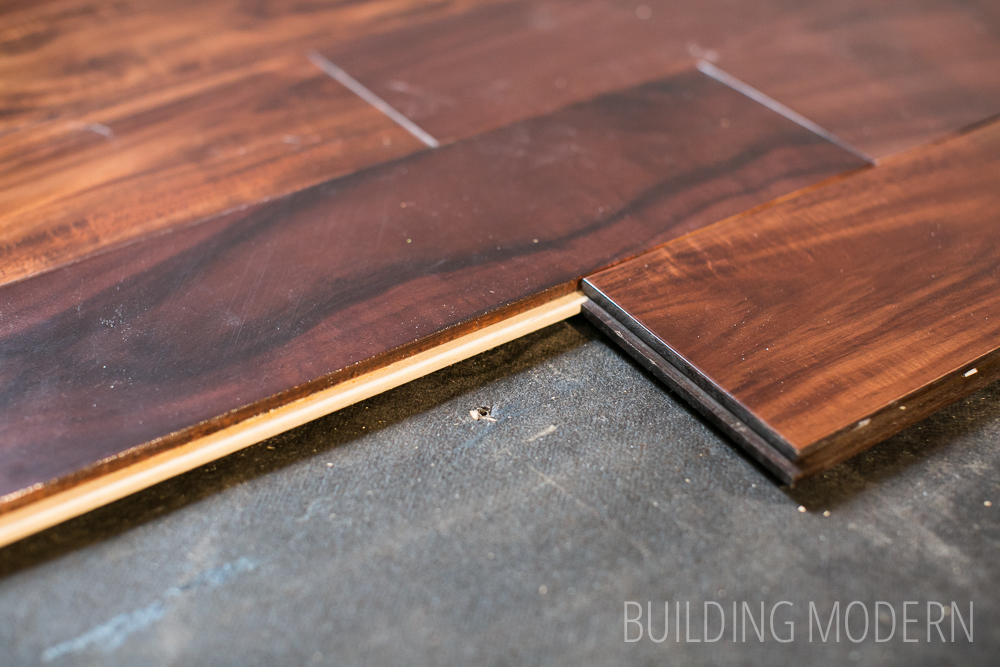reversing hardwood flooring direction with a spline