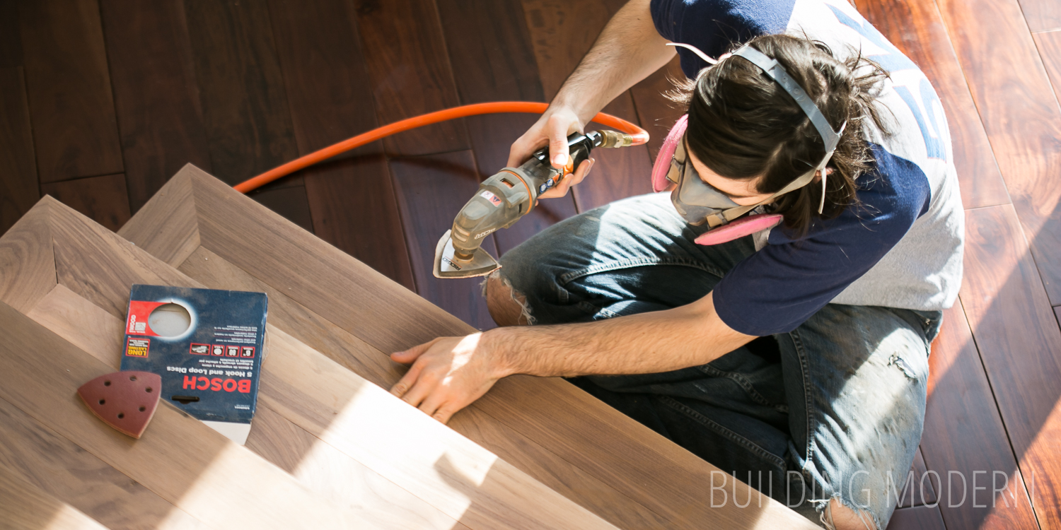 Foyer stairs: sanding and making wood filler