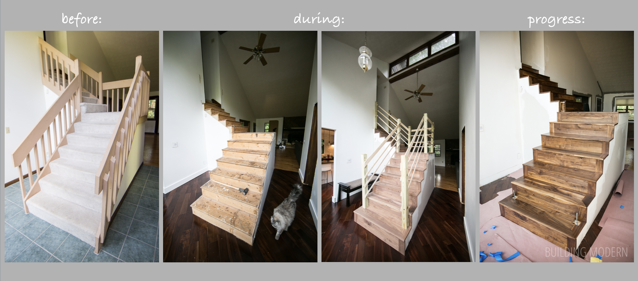 before during and progress of our stair renovaion