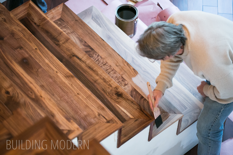 staining hardwood stairs