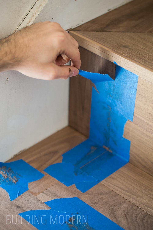using homemade wood filler on stair treads