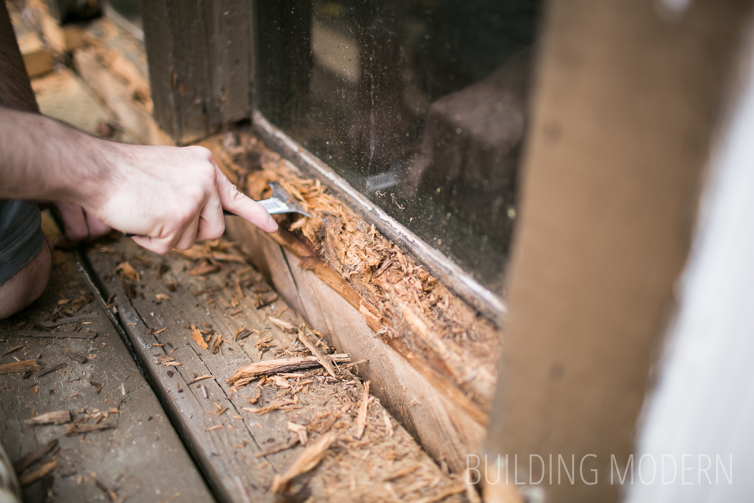diy rotten cedar window sill repair