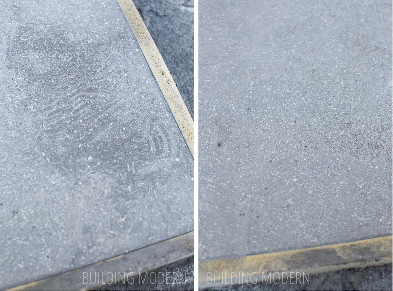 Angle grinder versus sanded concrete