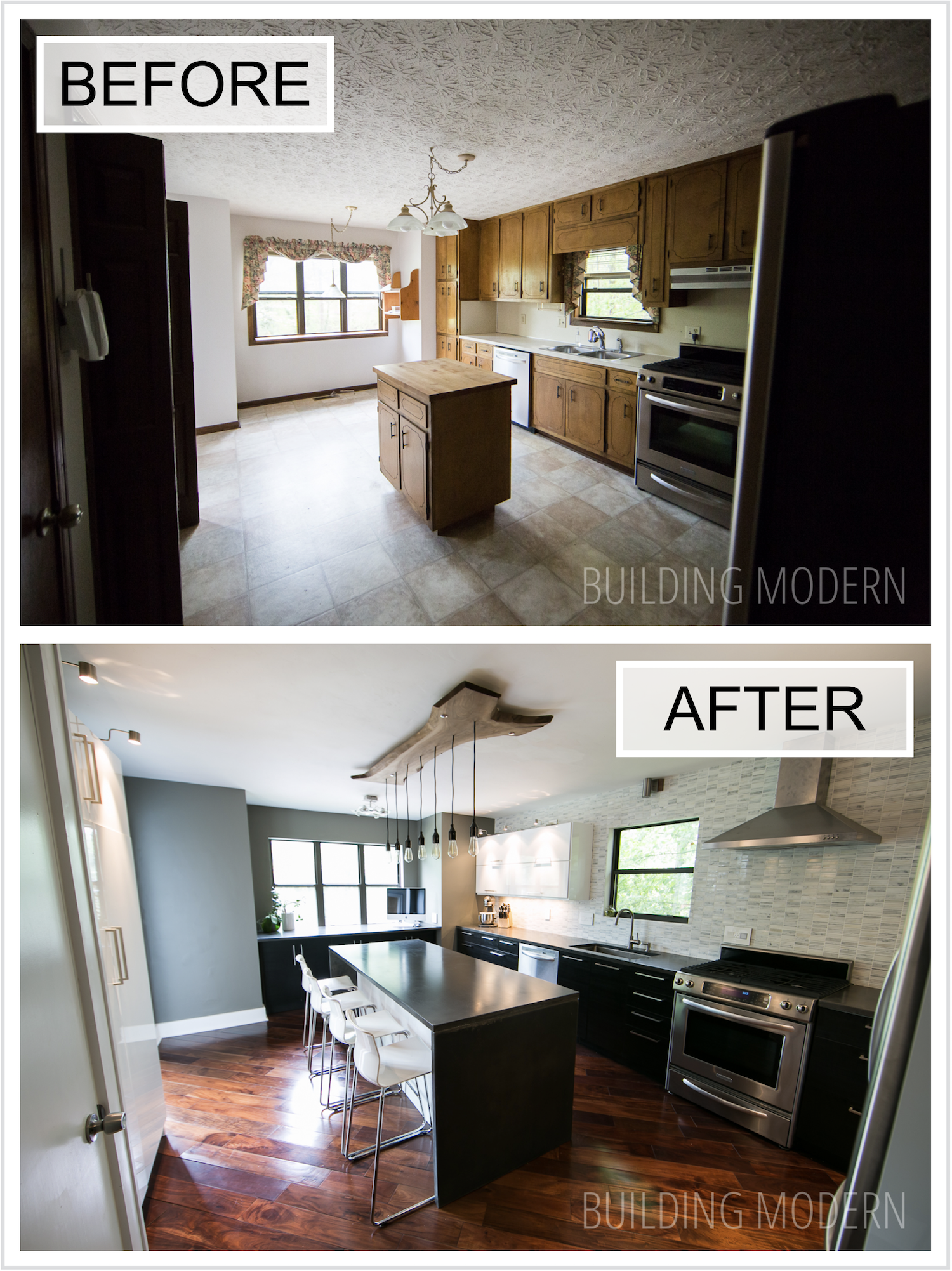 Before and after 1980s contemporary style house DIY kitchen renovation