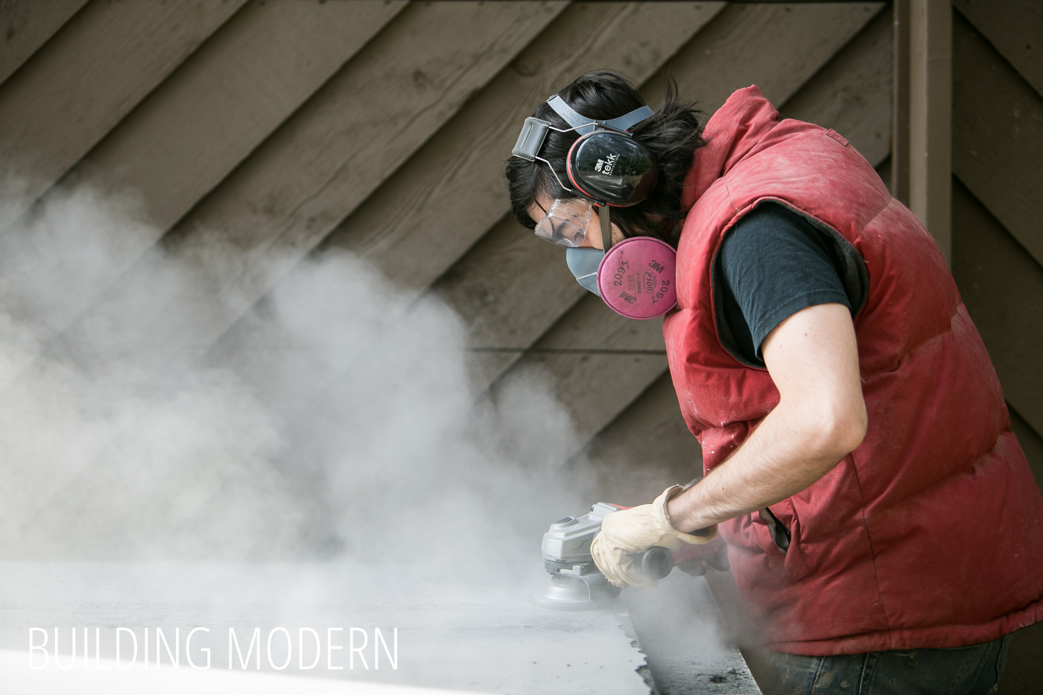 Using an angle grinder on concrete countertops