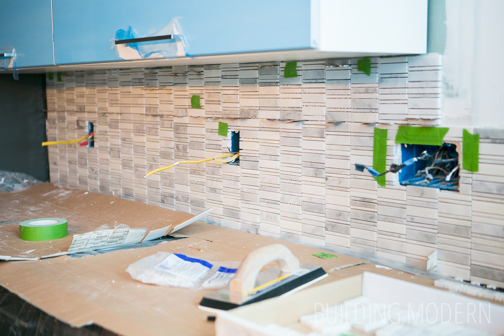 installing mosaic tile backsplash kitchen how to install a carrara marble mosaic tile backsplash part 2 7556